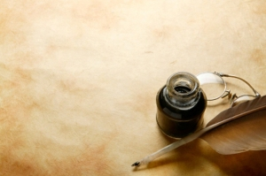Quill-pen-parchment-and-ink-bottle large